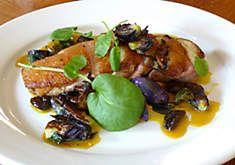 Nate Smith's Duck Breast with Saffron Onions, Flame Raisins & Purple Brussels Recipe | D'Artagnan