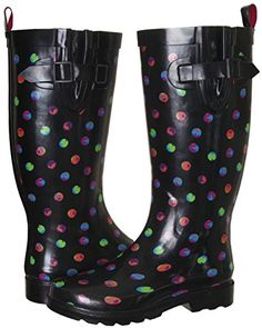 Capelli New York Ladies Dots Printed Tall Rubber Rain Boot Black Combo 8 ** You can find out more details at the link of the image.