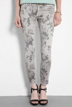 Grey Floral Printed Stiletto Skinny Jeans by CURRENT/ELLIOTT