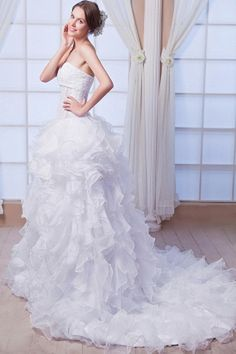 A-Line High Neck Organza Wedding Gown ted0133 - SILHOUETTE: A-Line; FABRIC: Organza; EMBELLISHMENTS: Beading , Sequin; LENGTH: Chapel Train - Price: 144.9400 - Link: http://www.theeveningdresses.com/a-line-high-neck-organza-wedding-gown-ted0133.html