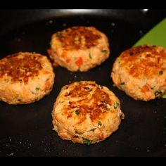 Salmon Patties Recipe Main Dishes with red sockeye, diced onions, red pepper, fresh parsley, eggs, whole wheat breadcrumbs, olive oil