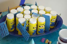Despicable Me Minion birthday party ideas Minion disguised bubbles with thank you notes attached