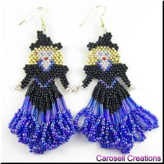 Halloween Witch Seed Bead Holiday Earrings - Blonde TAGS - Jewelry, Earrings, Beaded, carosell creations, sexy, brick stitch, weaved, halloween, witch, black, red, dangle, goth, wiccan, pagan, glass, seed beads, bugle, fringe, autumn, fall, october, wicked, beadweaver, woven, new, wizard of oz, good, holiday, gift, jewelry, blonde, occasion, fun, etsy, women, handmade