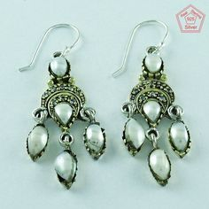 PEARL & CZ STONE 925 STERLING SILVER BEAUTIFUL EARRINGS YOUR LOVED ONES E3008 #SilvexImagesIndiaPvtLtd #DropDangle