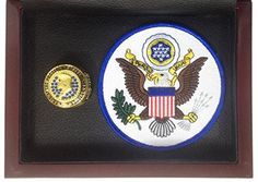 Donald Trump 45th President of the United States Souvenir Ring Display - Gold Plated with Blue Stones and Presidential Seal Patch - Shipped from USA