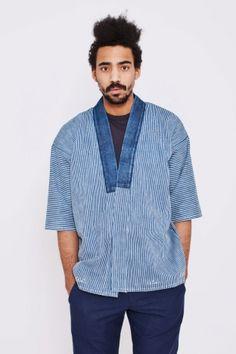 VISVIM Sanjuro Kimono Hickory Stripe $1850