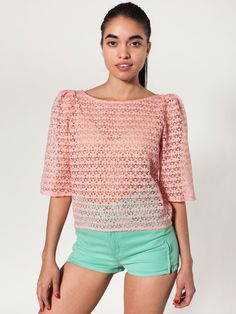 Lace Puff Sleeve Blouse | Blouses & Shirts | Women's Tops | American Apparel