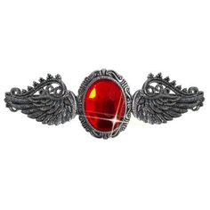 Antique Silver Ruby Gem & Angel Wings Barrette