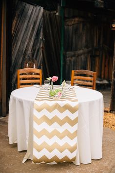 Chevron Table Runner Out Of Wrapping Paper, Photo By Jen Rodriguez Http://