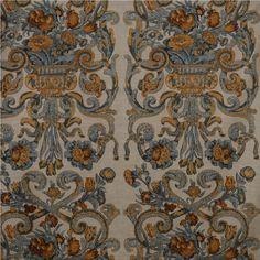 Scalamandre Baroque Floral Canvas Multi Blue & Oakwood
