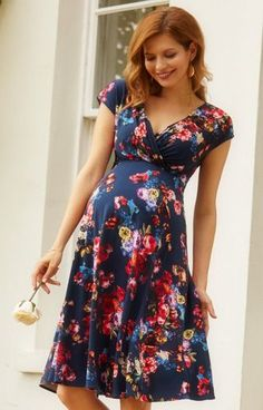 Love the style, not big on floral Alessandra Maternity Dress Short Midnight Garden - Maternity Wedding Dresses, Evening Wear and Party Clothes by Tiffany Rose. Maternity Wear, Maternity Fashion, Maternity Dresses, Maternity Winter, Maternity Wedding, Maternity Style, Maternity Clothes Canada, Maternity Dress Pattern, Maternity Pictures