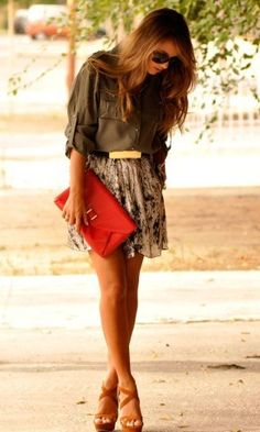 olive green with a pop of coral - LOVE everything about this look