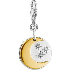 Thomas Sabo Moon and Stars 18ct gold-plated and sterling silver charm ($59) ❤ liked on Polyvore featuring jewelry, pendants, gold plated jewelry, charm jewelry, thomas sabo charms, white jewelry and sparkle jewelry