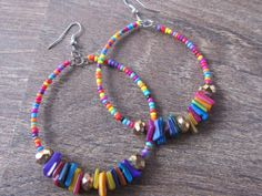 Handmade multi color bead Earrings Spring Summer Blue Red Yellow Fun Colorful