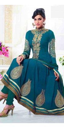 Modest Blue Georgette Embroidered Anarkali Salwar Kameez