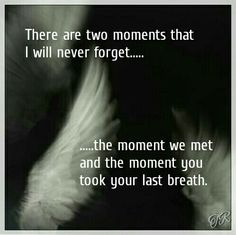 There are two moments I will never forget... The moment we met and the moment you took your last breath.