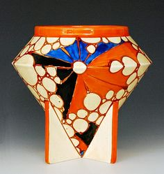 Clarice Cliff - Broth - A shape 400 rose bowl circa 1929/30 hand painted with abstract panel bursts and circles in orange, black and blue with orange banding, Fantasque mark, height 15cm.