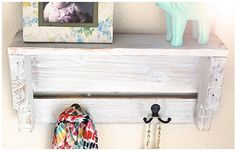 Rustic White Shelf Entry Shelf With Hooks Rustic by BrandNewToMe