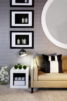 Living Room - Casual with textures & patterns in a young & modern setting - (re-pinned photo - Kelly Hoppen)