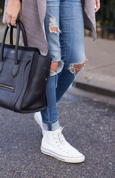 DETAILS.Black and White Stripe Tank / AStars Cardigan [old in love with this] / AG Maternity Jeans [same non maternity here] / White Converse / Celine Bag [similar here] / Michael Kors Watch&n...