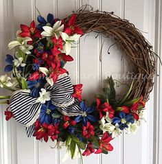 4th of July Wreath, July 4th Wreath, Floral Grapevine Wreath, Grapevine Wreath, Memorial Day Wreath, Patriotic Wreath, Patriotic Decor by CharmingBarnBoutique on Etsy