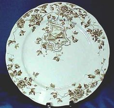 Brown and White Transferware Plate with Sailboat C1873 from foxandhounds on Ruby Lane