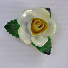 Vintage English Denton China Yellow Rose Brooch Pin