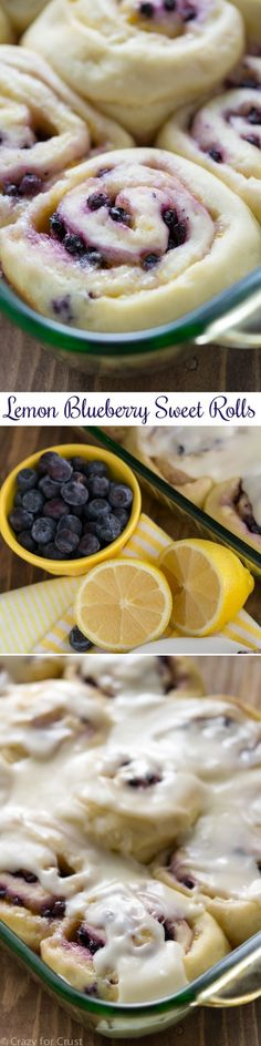 Lemon Blueberry Sweet Rolls have lemon in the yeast dough, the filling, and the glaze! (Gluten Free Recipes Cupcakes)