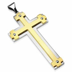 Large PVD Gold Gothic Cross on Stainless Steel Cross Pendant