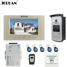 JERUAN Home Doorbell 7`` TFT Video Door Phone Intercom System kit 1 Monitor +700TVL RFID Access Camera In Stock FREE SHIPPING #Affiliate