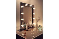 Miroir de salle de bain Diamond X Collection Miroir de maquillage Hollywood brillant noir lampes LED blanches chaudes k112WW - Ampoules LED blanches chaudes Taille:H:800mm x L:600mm x P:60mm