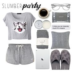 """Slumber Party Style"" by tormadrienn ❤ liked on Polyvore featuring GANT, NIKE, Peking Handicraft, Falke, Dermalogica, Retrò, Jack Wills, grey, coffee and cat"