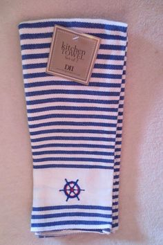 DII Kitchen Towels Set of 2 White Blue Striped Embroidery Design New  #DII