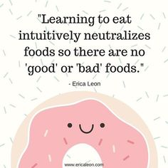 One of the biggest pieces of leaving the diet mentality behind and embracing #intuitiveeating is learning that food is NOT a moral issue! Food is just food, and an apple is no better than a cheeseburger. ALL foods have a place in a balanced, varied, satisfying diet.