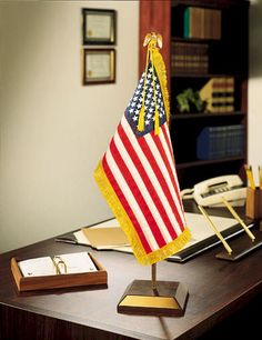 Decorating for the 4th of July is as simple as putting a flag on your desk.