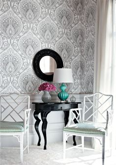 Thibaut wallpaper. Chippendale chairs. Black and white. Turquoise. Lamp. Mirror.