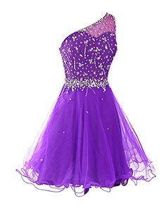 Dresstells Short One Shoulder Prom Dresses Tulle Homecoming Dress with Beads Black Size 2
