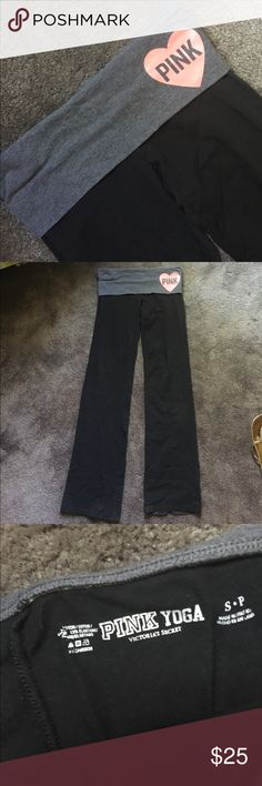 VS Pink yoga pants. Small Prime condition except for there is a hole at the bottom inside, you don't even notice it, it's on the inside of the pant leg, see pic. I had to have these! And wore them maybe three or four times? Still jet black, no fading. No stains. No pilling. I will trade these pants for a pair of your VS pants, same condition. No matter the price. I do not trade dollar for dollar because everybody prices differently. Thanks! PINK Victoria's Secret Pants Leggings