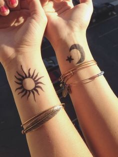 Sun and moon tattoos