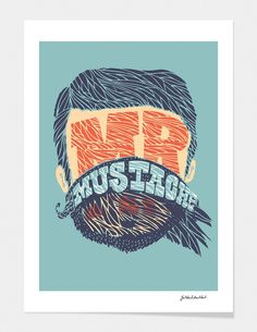 """""""Mr. Mustache"""" - Limited Edition Print by Jackkrit Anantakul for Curioos"""