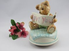 """Very Cute Vintage Otagiri 1970's Ceramic LOVE YOU Teddy Bear Music Box. The Music Box plays clearly """"Love Makes the World Go Round"""". by VintageQualityFinds on Etsy"""