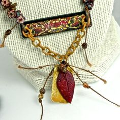 Stained Glass Handmade Art Bead Fall OOAK Necklace by enlalumiere, $68.00