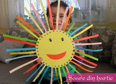 sun craft: circle with hole punches on border, cut strips of colorful paper, have them thread paper through holes and glue. goggle-y eyes for the finishing touch