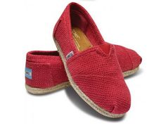 2014 New Arrival Toms Shoes bottom of the hemp Red