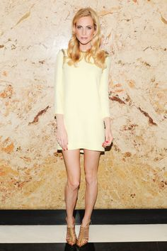 390edcbee38 Poppy Delevingne expertly incorporated nude color into light yellow in her  elegantly sleek outfit. Poppy