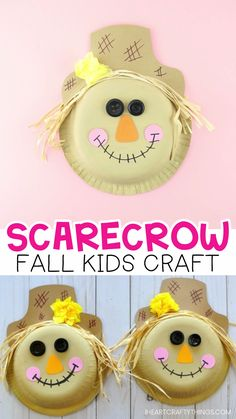 Paper Bowl Scarecrow Craft -Super cute fall craft for kids! This fun and easy scarecrow craft is perfect for a fall kids craft and harvest kids craft. Easy fall preschool crafts. Fun fall theme bulletin board ideas for the classroom.