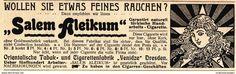 Werbung - Original-Werbung/ Anzeige 1902 - SALEM ALEIKUM CIGARETTEN / YENIDZE - DRESDEN - ca. 135 x 40 mm