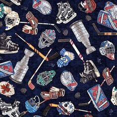 Face Off Everything Hockey Gear Stanley Cup Dark Blue Cotton Fabric