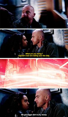 """We got bigger fish to fry, honey"" - Mick and Amaya #LegendsOfTomorrow ((Um... a ship is coming, guys?))"