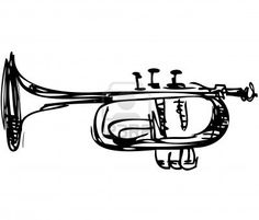 a sketch of copper Cornet Musical Instrument Stock Photo